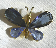 Brooch Pin Gold Plated Butterfly Wings Set with Large Blue Crystals