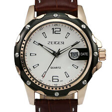 Zeiger Mens Quartz Wrist Watch Genuine Leather Brown Date Analog Classic Luxury