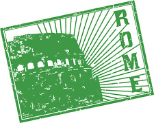 """Rome Italy Europe Travel Green Grunge Stamp Car Bumper Sticker Decal 5"""" x 4"""""""