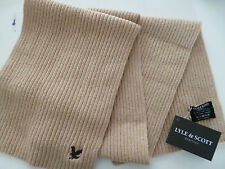 Lyle and & Scott mens scarf beige natural wool ribbed brown eagle BNWT woollen