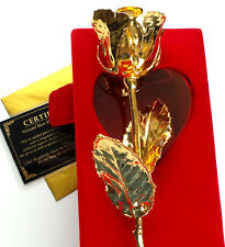 "GENUINE 24k Carat GOLD REAL ROSE PRESERVED IN GOLD IN GIFT BOX LARGE 11"" TALL"