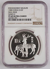 1989 China 10 Yuan Silver Proof Coin NGC PF69 UC Wildlife Series II - Sika Deer