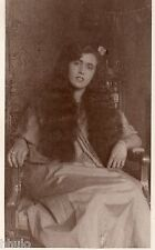 BK623 Carte Photo vintage card RPPC femme portrait long cheveux hair