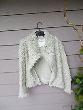 IRO Caty Ecru Knit Looped Wool Cardigan Sweater Jacket SZ 42