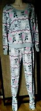 Disney Mickey Mouse Footed Pajamas Set 2 PC Gray Pink Soft Fleece NEW M LAST ONE