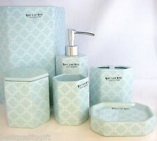 6PC WEST LAKE SET AQUA BLUE+WHITE CERAMIC SOAP DISPENSER+DISH+TUMBLER+TRASH CAN+