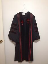 Murphy Robes Dr. Of Divinity H-123 Preacher Pastor Choir Robe Black  Red Cross