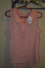 Maurices shirt round collar sleeveless blouse coral peach large PASSPORT NEW NWT