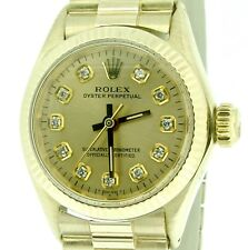 Ladies Rolex Solid 14k Yellow Gold Oyster Perpetual No-Date Watch Diamond 6719