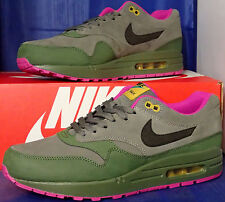 Nike Air Max 1 Leather Dark Pewter Carbon Green Fuchsia Flash SZ 9 (654466-008)