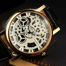Men's White Skeleton Leather Band Analog Wrist Mechanical Stainless Steel Watch