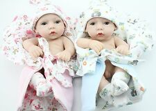 "Handmade Real Looking Full Vinyl  Lifelike Dolls Babies Twins Girl Boy 10"" Gfit"