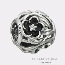 Authentic Pandora Sterling Silver Black Enamel Mystic Floral CZ Bead 791409CZ