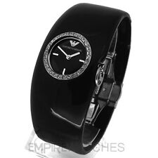 *NEW* LADIES EMPORIO ARMANI BLACK BANGLE CUFF WATCH - AR0739 - RRP £189
