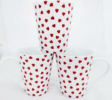 Love Hearts Mugs Conical Porcelain Set 6 Mugs Hand Decorated in the UK