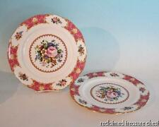 "Royal Albert Lady Carlyle Dinner Plates 10.5"" Set of 2 England Pink Roses"