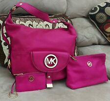 Michael Kors Fulton Fuschia Large Shoulder Bag Plus Coin Wallet Gold Tone Hardwa