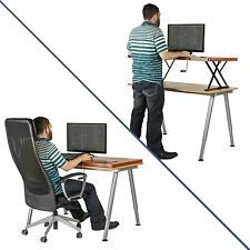 Halter Manual Adjustable Height Table Top Sit / Stand Desk Cherry