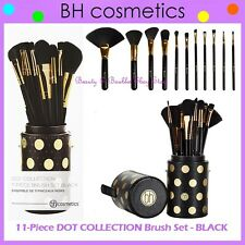 NEW BH Cosmetics 11-Piece DOT COLLECTION BLACK Brush Set w/Cup Holder FREE SHIP