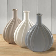Set of 3 Tonal White Grey Taupe Vases
