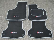 Dk Grey/Silver SUPER VELOUR Car Mats to fit Audi RS3 8P (2011-12) + RS3 Logos x4