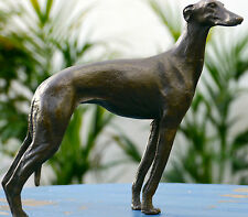 LOVELY GREYHOUND WHIPPET GENUINE PURE BRONZE STATUE FIGURE