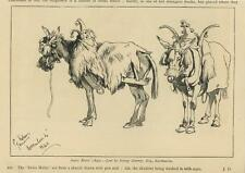 ANTIQUE SWISS SWITZERLAND MULES ANIMAL COSTUME PEN & INK DRAWING ART OLD PRINT