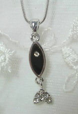 Christian Fish Necklace  Ichthys Silver Black Crystal Fashion Jewelry NEW