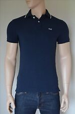 NEW Abercrombie & Fitch Classic Tipped Colar A&F Logo Polo Shirt Navy Blue S