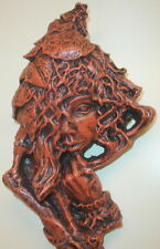 Vintage Green Woman Leaf Tree Face Tree Forest Goddess Wall Hanging Plaque
