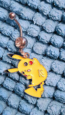 PIKACHU  Pokemon  Belly Ring Navel Ring 14G Surgical Steel Dangle