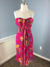 Ralph Lauren Pink Floral Silk S 4 Strapless Cocktail Dress Excellent