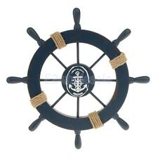 Nautical Wood Boat Ship Steering Wheel Party Beach Home Wall Decor Dark Blue