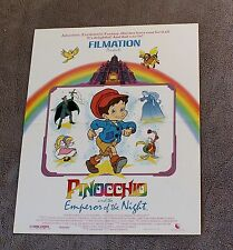 Pinocchio Emperor of the Night 1987 Ed Asner Bosley Filmation Video Poster EX C8