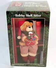 Christmas Holiday SHELF SITTER Teddy Bear with Santa Hat ORIGINAL BOX