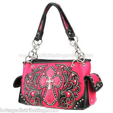Montana West Western Handbag Spiritual Cross Rhinestones Hot Pink