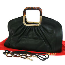 Authentic BALLY Logos 2way Hand Shoulder Bag Black Leather Italy Vintage S05124