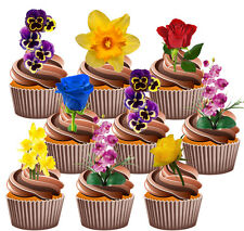 Pretty Flowers Pansy Daffodil Rose Orchid 36 Edible Cup Cake Toppers Decorations