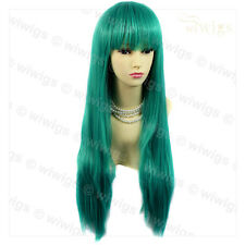 Fabulous Long Straight Jade Green mix Lady Wig Heat Resistant Cosplay WIWIGS UK