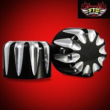 Black Contrast Billet Front Axle Nut Covers for 2000-2007 Harley  Touring