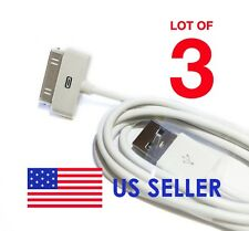 Lot of 3 White USB Cord Charger Data Wall Cable For Apple iPod iPhone 3G 4 4S 4G