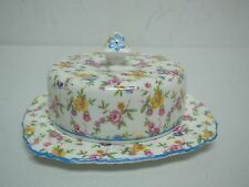VINTAGE ROYAL STAFFORD ROSAMUNDE CHINTZ FLORAL ROUND COVERED BUTTER CHEESE DISH