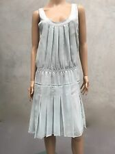 As New Pleated PRADA Dress Mint & Grey RRP $1200 Size 40 8 C196