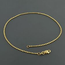 14K YELLOW GOLD D/C 1.5MM BALL 9 INCH ANKLET