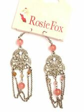 Silver Rosie Fox Drop Earrings with Clear Crystals & Pink Natural Agate Stones