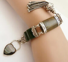 ANTIQUE SCOTTISH SILVER &  AGATE BRACELET & HEART PADLOCK C.1880