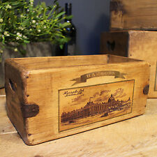 Vintage Box Harrods Lovely Rustic Wooden Storage Crate London Advertising Trug