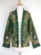Coldwater Creek Forest Green Earth Day Patchwork Quilted Swing Jacket Blazer XXL