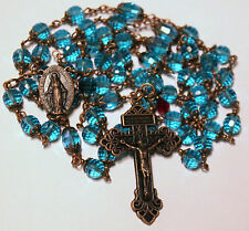 "Antique Copper Blue Crystals 27 1/2"" Rosary,Rosario,Handmade & free Gift"