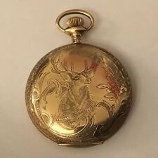 LONGINES Full Hunter Gents Pocket Watch Decorative Engraved Stag Case Gold Fill